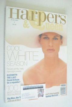 British Harpers & Queen magazine - June 1993 - Vanessa Duve cover