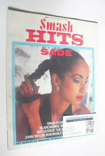 <!--1984-05-10-->Smash Hits magazine - Sade cover (10-23 May 1984)