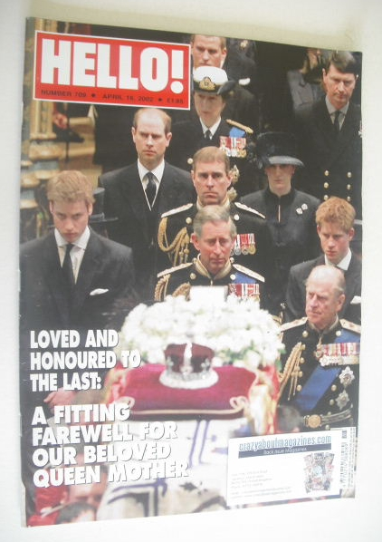 <!--2002-04-16-->Hello! magazine - Queen Mother funeral cover (16 April 200