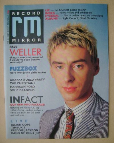 <!--1987-02-07-->Record Mirror magazine - Paul Weller cover (7 February 198
