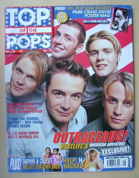 <!--2000-08-->Top Of The Pops magazine - Westlife cover (August 2000)