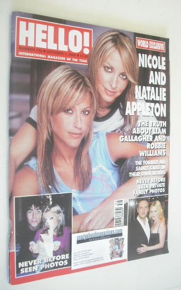 <!--2002-10-01-->Hello! magazine - Nicole and Natalie Appleton cover (1 Oct