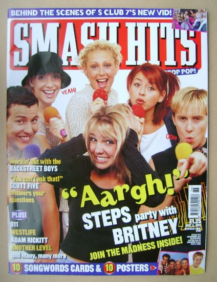 <!--1999-09-08-->Smash Hits magazine - Steps and Britney Spears cover (8 Se