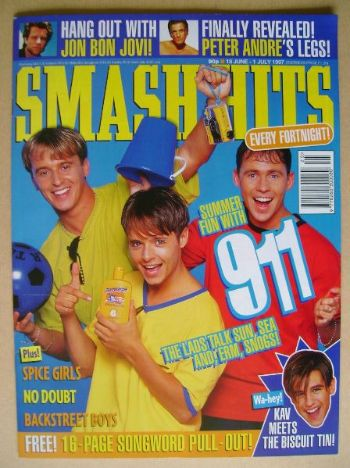 <!--1997-06-18-->Smash Hits magazine - 911 cover (18 June - 1 July 1997)