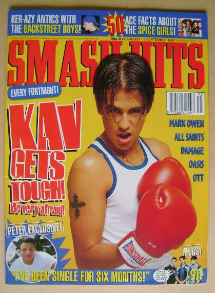 <!--1997-08-27-->Smash Hits magazine - Kavana cover (27 August - 9 Septembe