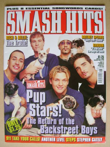 <!--1999-04-21-->Smash Hits magazine - Backstreet Boys cover (21 April 1999