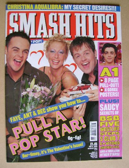 <!--2000-02-09-->Smash Hits magazine - Ant & Dec and Faye Tozer cover (9 Fe