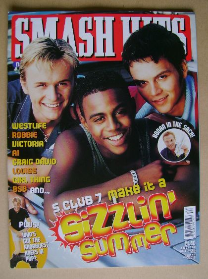 <!--2000-08-23-->Smash Hits magazine - S Club boys cover (23 August 2000)