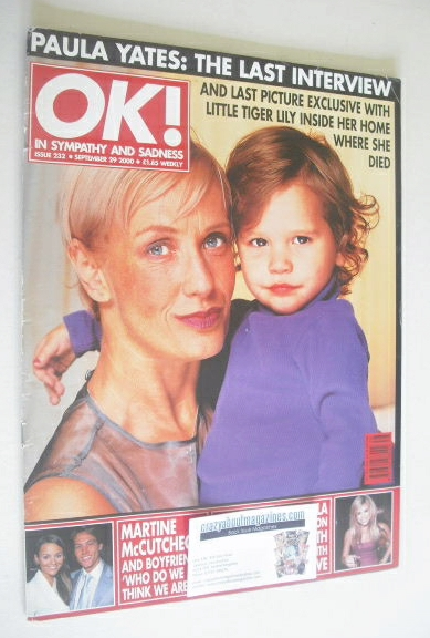 <!--2000-09-29-->OK! magazine - Paula Yates cover (29 September 2000 - Issu