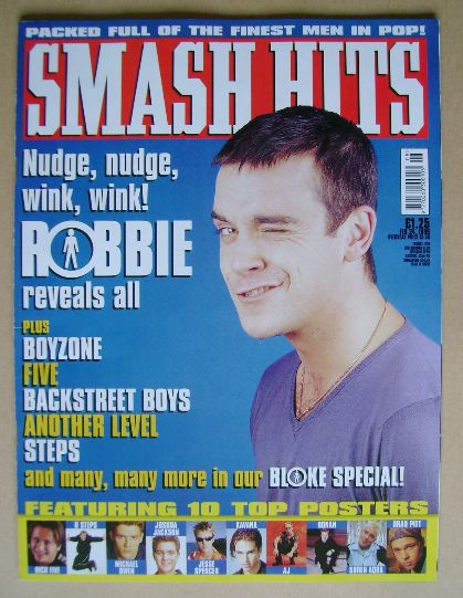<!--1999-02-24-->Smash Hits magazine - Robbie Williams cover (24 February 1