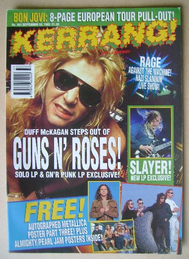 <!--1993-09-18-->Kerrang magazine - Duff McKagan cover (18 September 1993 -