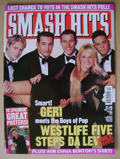 <!--1999-11-03-->Smash Hits magazine - Geri Halliwell and Boys of Pop cover