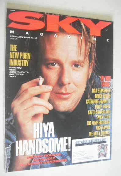 <!--1990-02-->Sky magazine - Mickey Rourke cover (February 1990)