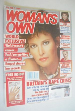 <!--1989-02-07-->Woman's Own magazine - 7 February 1989 - Raquel Welch cove