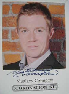 Matthew Crompton autograph (ex Coronation Street actor)