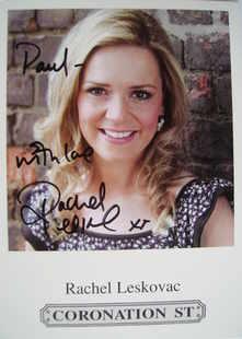 Rachel Leskovac autograph (Coronation Street actor)