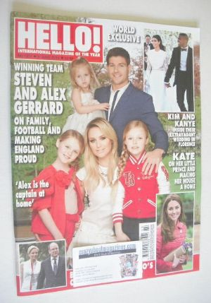 <!--2014-06-09-->Hello! magazine - Steven Gerrard and family cover (9 June