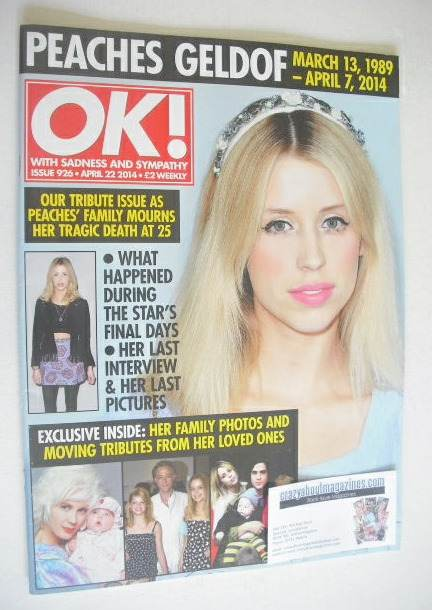 <!--2014-04-22-->OK! magazine - Peaches Geldof cover (22 April 2014 - Issue