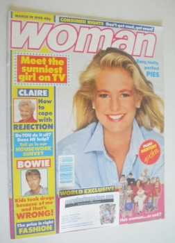 Woman magazine - Ulrika Jonsson cover (19 March 1990)