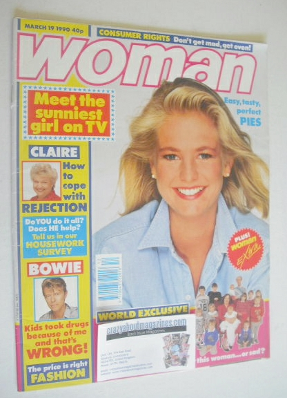 <!--1990-03-19-->Woman magazine - Ulrika Jonsson cover (19 March 1990)