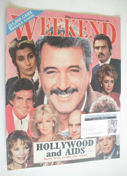 <!--1985-11-05-->Weekend magazine - Hollywood and AIDS cover (5 November 19