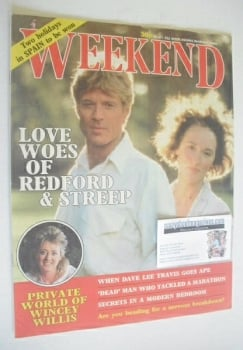 Weekend magazine - Robert Redford and Meryl Streep cover (4 March 1986)