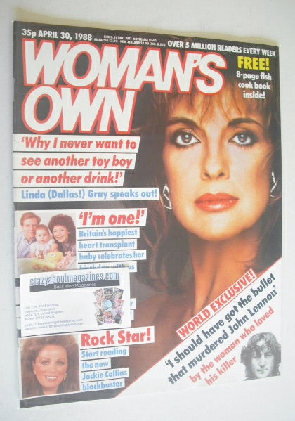 <!--1988-04-30-->Woman's Own magazine - 30 April 1988 - Linda Gray cover