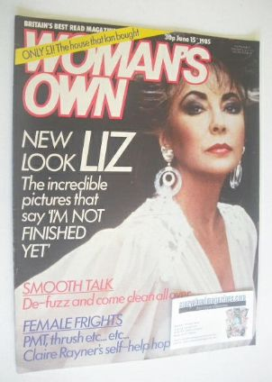 <!--1985-06-15-->Woman's Own magazine - 15 June 1985 - Elizabeth Taylor cov