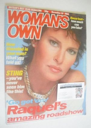 <!--1984-12-15-->Woman's Own magazine - 15 December 1984 - Raquel Welch cov