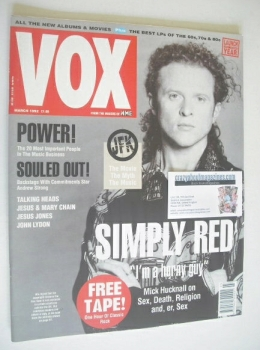 VOX magazine - Mick Hucknall cover (March 1992)