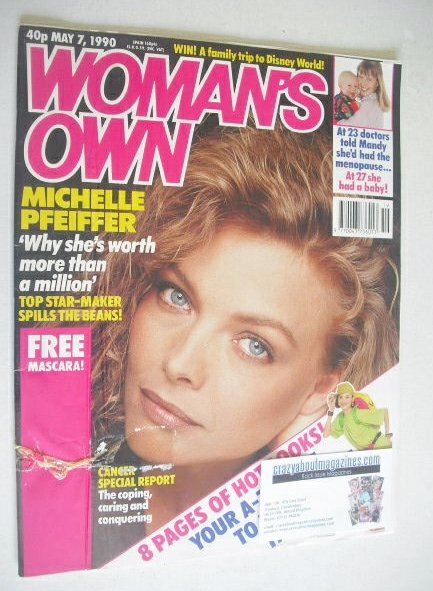 <!--1990-05-07-->Woman's Own magazine - 7 May 1990 - Michelle Pfeiffer cove