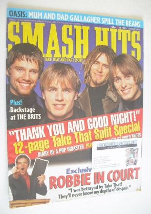 <!--1996-02-28-->Smash Hits magazine - Take That cover (28 February - 12 Ma