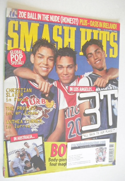 <!--1996-04-10-->Smash Hits magazine - Blur cover (10-23 April 1996)