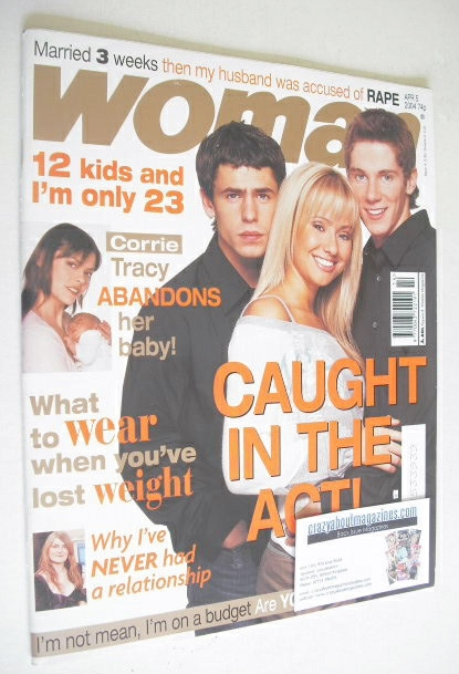 <!--2004-04-05-->Woman magazine - Sammy Winward, Kelvin Fletcher and Karl D
