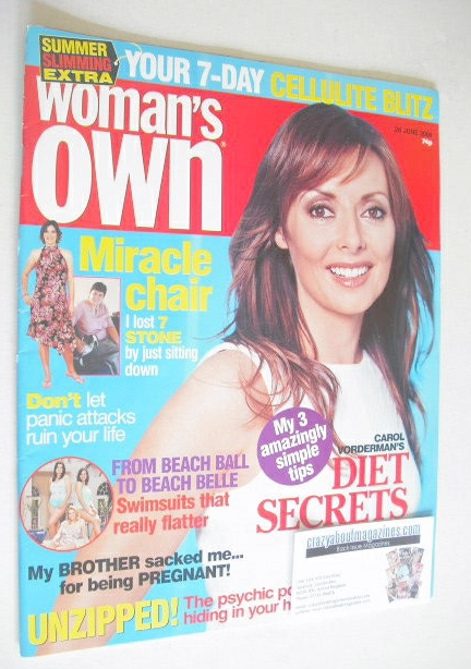 <!--2004-06-28-->Woman's Own magazine - 28 June 2004 - Carol Vorderman cove