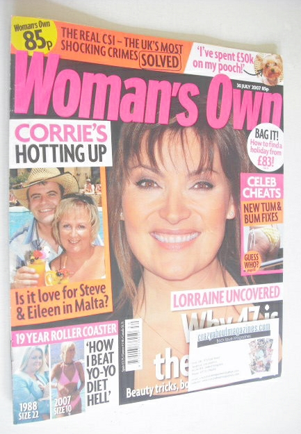 <!--2007-07-30-->Woman's Own magazine - 30 July 2007 - Lorraine Kelly cover