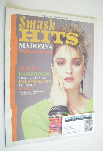 <!--1984-02-16-->Smash Hits magazine - Madonna cover (16-29 February 1984)