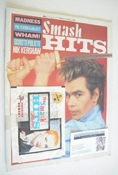 <!--1984-03-29-->Smash Hits magazine - Nik Kershaw cover (29 March - 11 Apr