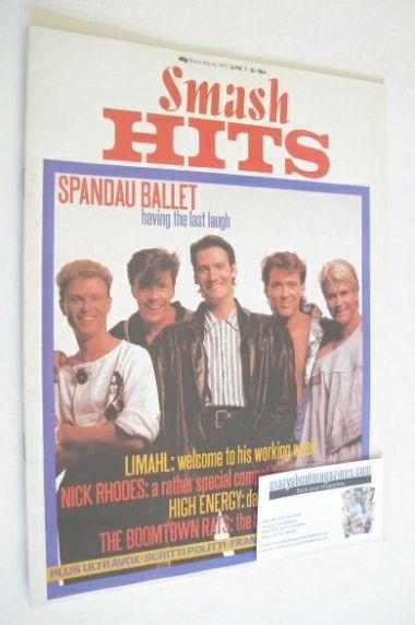 <!--1984-06-07-->Smash Hits magazine - Spandau Ballet cover (7-20 June 1984