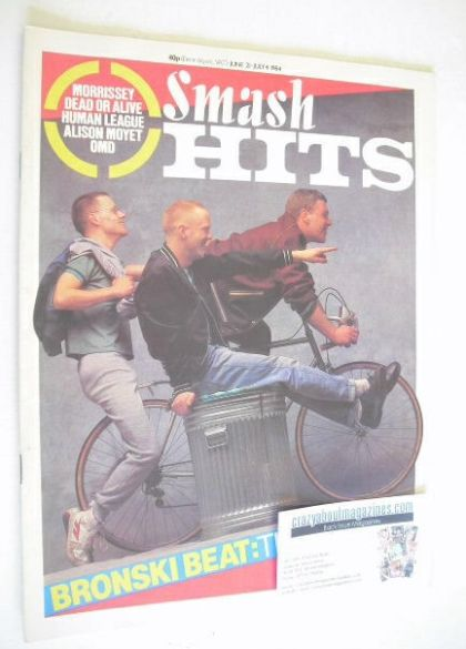 <!--1984-06-21-->Smash Hits magazine - Bronski Beat cover (21 June - 4 July