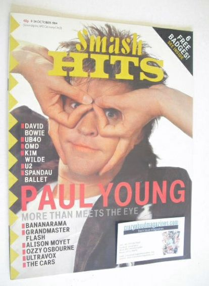 <!--1984-10-11-->Smash Hits magazine - Paul Young (11-24 October 1984)