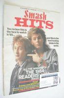 <!--1984-12-20-->Smash Hits magazine - John Taylor and Julian Lennon cover (20 December 1984 - 2 January 1985)