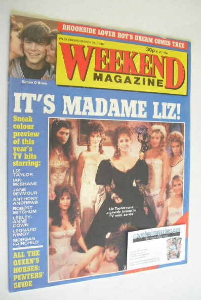 <!--1986-03-25-->Weekend magazine - Elizabeth Taylor cover (25 March 1986)