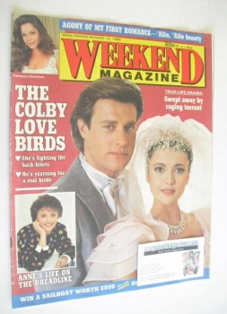 Weekend magazine - John James and Emma Samms cover (12 August 1986)