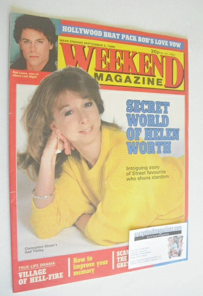 <!--1986-09-02-->Weekend magazine - Helen Worth cover (2 September 1986)