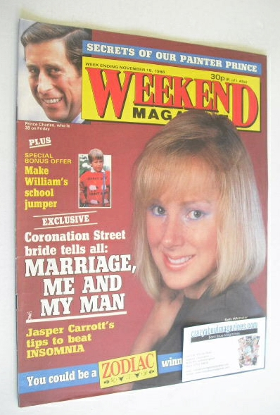 <!--1986-11-18-->Weekend magazine - Sally Whittaker cover (18 November 1986