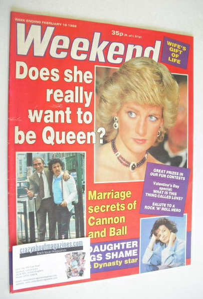 <!--1988-02-16-->Weekend magazine - Princess Diana cover (16 February 1988)