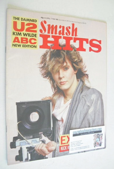 <!--1985-04-24-->Smash Hits magazine - Nick Rhodes cover (24 April - 7 May
