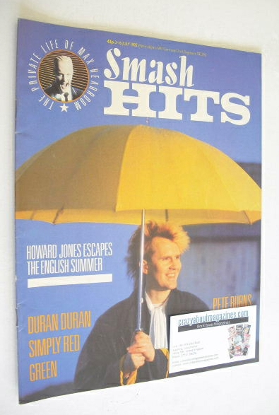 <!--1985-07-03-->Smash Hits magazine - Howard Jones cover (3-16 July 1985)