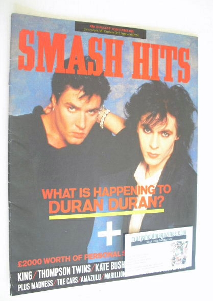 <!--1985-08-28-->Smash Hits magazine - Simon Le Bon and Nick Rhodes cover (